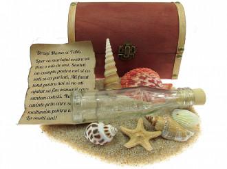 Cadou personalizat mesaj in sticla in cufar mare maro