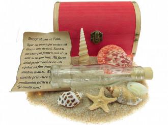 Cadou pentru Aniversare personalizat mesaj in sticla in cufar mare rosu