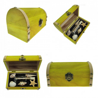 Cadou pentru Director personalizat mesaj in sticla in cufar mediu galben