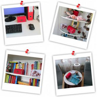 Cadou pentru Invatatoare personalizat mesaj in sticla in cufar mediu rosu