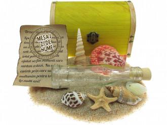 Cadou pentru Onomastica personalizat mesaj in sticla in cufar mare galben