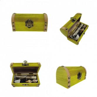 Cadou pentru Onomastica personalizat mesaj in sticla in cufar mic galben