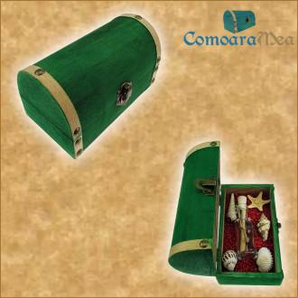 Cadou pentru Soacra personalizat mesaj in sticla in cufar mediu verde