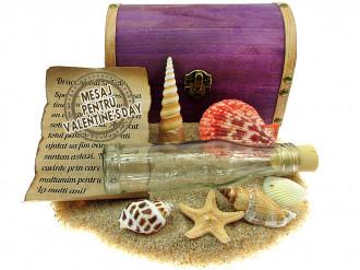 Cadou pentru Valentine's Day personalizat mesaj in sticla in cufar mare mov