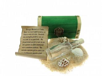 Cadou personalizat mesaj in sticla in cufar mic verde