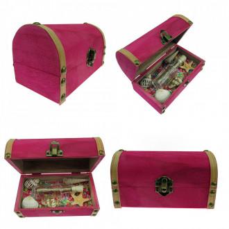 Cadou pentru Iubit personalizat mesaj in sticla in cufar mediu roz