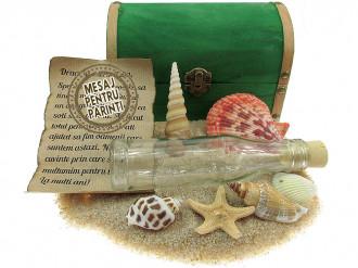 Cadou pentru Parinti personalizat mesaj in sticla in cufar mare verde