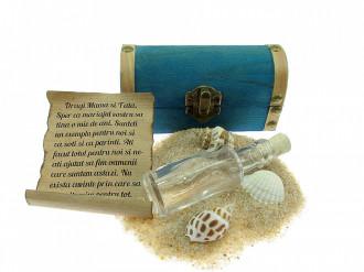 Cadou personalizat mesaj in sticla in cufar mic albastru