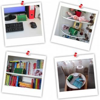 Cadou pentru Invatatoare personalizat mesaj in sticla in cufar mediu verde