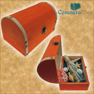 Cadou pentru Onomastica personalizat mesaj in sticla in cufar mare portocaliu