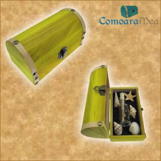 Cadou pentru Parinti personalizat mesaj in sticla in cufar mediu galben