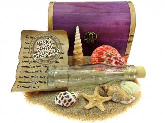 Cadou pentru Pensionare personalizat mesaj in sticla in cufar mare mov