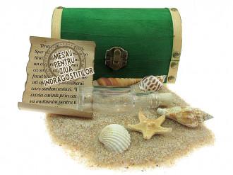 Cadou pentru Ziua Indragostitilor personalizat mesaj in sticla in cufar mediu verde