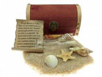 Cadou personalizat mesaj in sticla in cufar mediu maro
