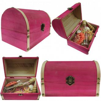 Cadou pentru Aniversare personalizat mesaj in sticla in cufar mare roz