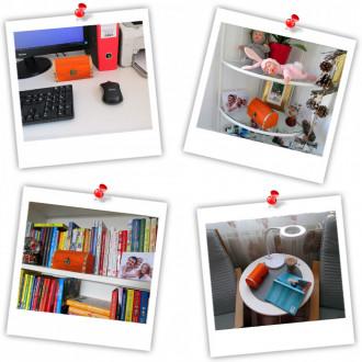 Cadou pentru Aniversare personalizat mesaj in sticla in cufar mediu portocaliu