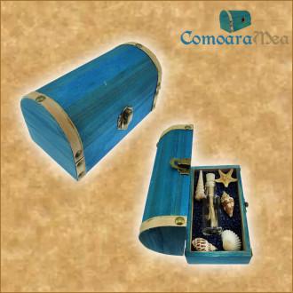 Cadou pentru Aniversare personalizat mesaj in sticla in cufar mediu albastru