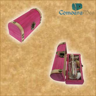Cadou pentru Aniversare personalizat mesaj in sticla in cufar mic roz