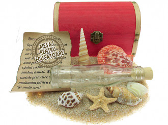 Cadou pentru Educatoare personalizat mesaj in sticla in cufar mare rosu