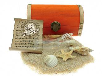 Cadou pentru Educatoare personalizat mesaj in sticla in cufar mediu portocaliu