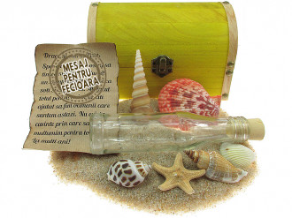 Cadou pentru Fecioara personalizat mesaj in sticla in cufar mare galben