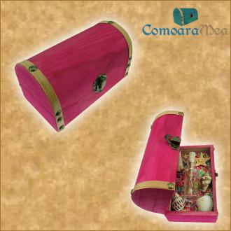 Cadou pentru Mama personalizat mesaj in sticla in cufar mediu roz