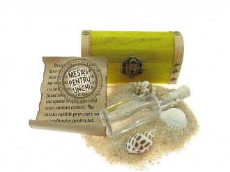 Cadou pentru Unchi personalizat mesaj in sticla in cufar mic galben