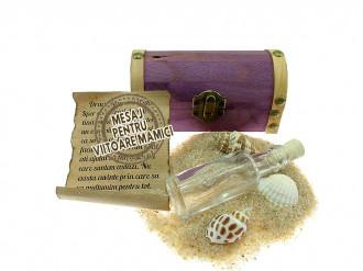 Cadou pentru Viitoare mamici personalizat mesaj in sticla in cufar mic mov