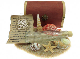 Cadou Majorat personalizat mesaj in sticla in cufar mare maro