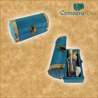 Cadou Majorat personalizat mesaj in sticla in cufar mic albastru