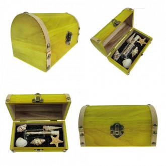 Cadou pentru Baieti personalizat mesaj in sticla in cufar mediu galben
