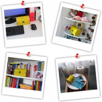 Cadou pentru Educatoare personalizat mesaj in sticla in cufar mare galben