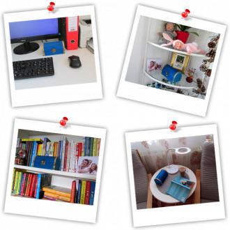 Cadou pentru Educatoare personalizat mesaj in sticla in cufar mediu albastru