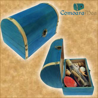Cadou pentru Invatatoare personalizat mesaj in sticla in cufar mare albastru