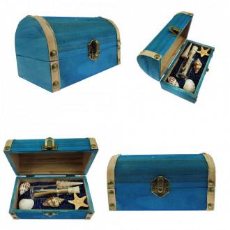 Cadou pentru Onomastica personalizat mesaj in sticla in cufar mediu albastru