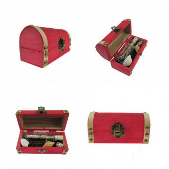 Cadou pentru Onomastica personalizat mesaj in sticla in cufar mic rosu