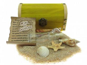 Cadou pentru Aniversare personalizat mesaj in sticla in cufar mediu galben