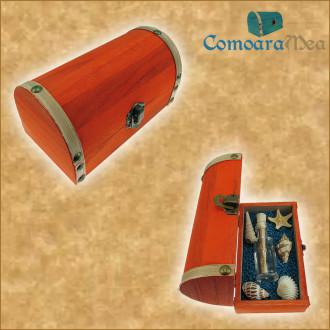 Cadou pentru Onomastica personalizat mesaj in sticla in cufar mediu portocaliu
