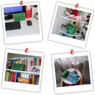 Cadou pentru Profesor personalizat mesaj in sticla in cufar mare verde