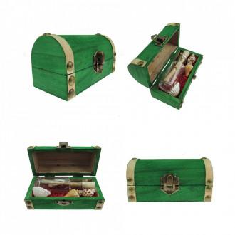 Cadou pentru Sot personalizat mesaj in sticla in cufar mic verde