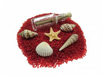 Cadou pentru Zi de nastere personalizat mesaj in sticla in cufar mediu rosu