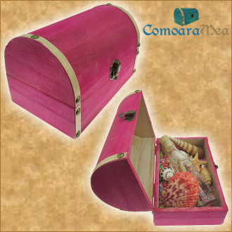 Cadou Majorat personalizat mesaj in sticla in cufar mare roz