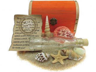 Cadou pentru El personalizat mesaj in sticla in cufar mare portocaliu