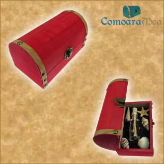 Cadou pentru Onomastica personalizat mesaj in sticla in cufar mediu rosu