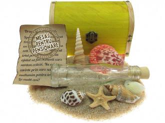 Cadou pentru Pensionare personalizat mesaj in sticla in cufar mare galben