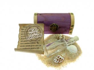 Cadou pentru Pensionare personalizat mesaj in sticla in cufar mic mov