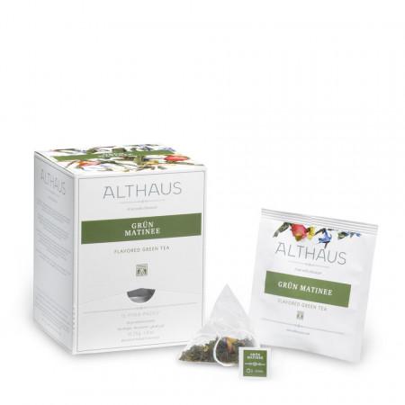 Althaus Pyra Pack Green Matinee: Ceai Verde Aromat, 15 plicuri in cutie,2,75g ceai in plic din matase