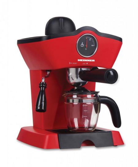 Espressor Heinner Retro Effect, espresso si capuccino, 3.5 bar, 4 cesti, 800W, Roșu