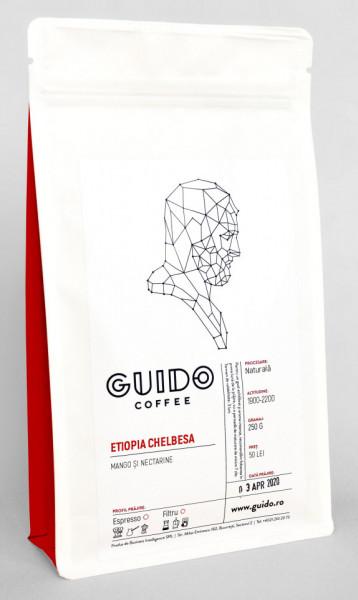 GUIDO Cafea Proaspăt Prăjită ETIOPIA CHELBESA, 250g, Note de mango și nectarine, Corp Mediu și Suculent, Espresso, Filtru si Ibric
