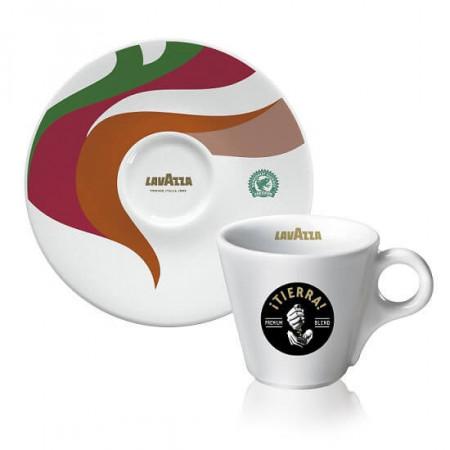 Lavazza Tierra Set Cesti Espresso cu farfurii, 12 cesti de 60ml, 12 farfuri, Ideal pentru Espresso
